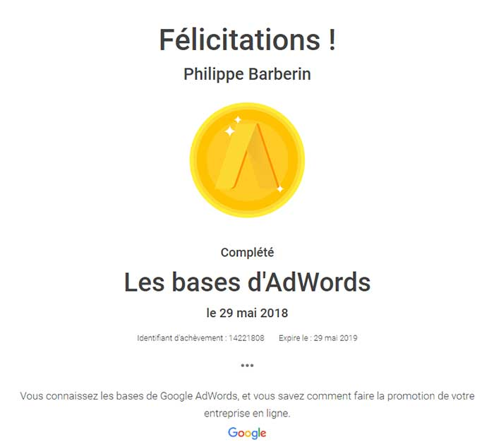 Certification les bases adwords - Philippe Barberin